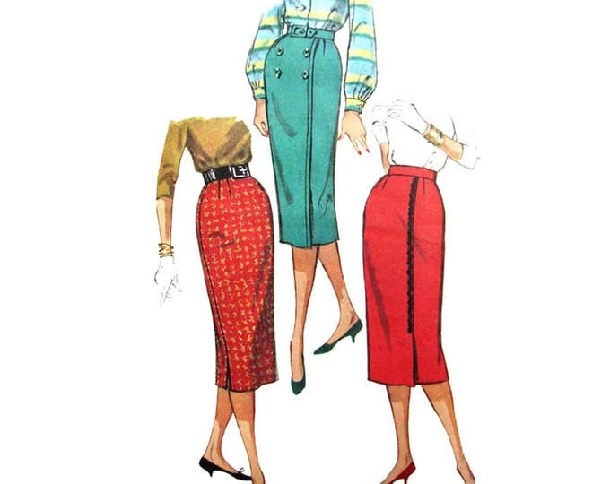 50s Wiggle Skirt Pattern Simplicity 2656 One Yard Sheath Skirt Waist 27 Vintage Sewing Pattern