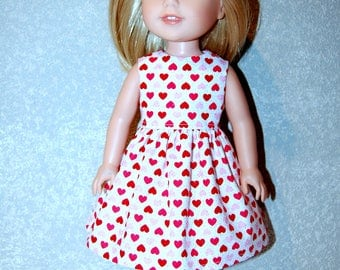 """Dress for 14"""" Wellie Wishers or Melissa & Doug Doll Clothes Pink Red sparkle hearts Valentines day  tkct1207 READY TO SHIP"""