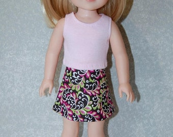 Spring Sale Pink Tank Top and skirt set handmade for 14.5 inch Wellie Wishers tkct1126 READY TO SHIP