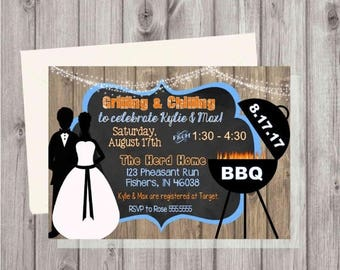 ON SALE Digital Rustic Wooden BBQ Barbecue Couples Wedding Shower Cookout Printable Invitation