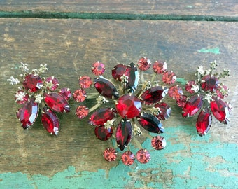 Vintage Brooch Pin Earrings Set Red Pink Rhinestone Flower Floral Spray