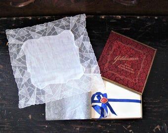 Vintage Spider Web Handkerchief With Goldenweve Box Spider Web Tissue