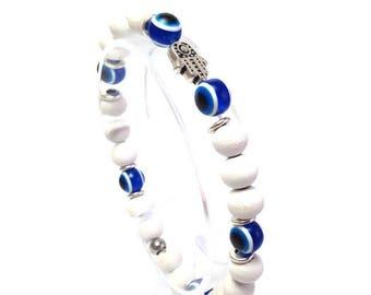 Hamsa hand evil eye bracelet - white wood beads - protection - Greek jewelry -