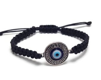 Men's evil eye greek design bracelet, black, gift for him