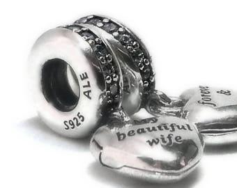 Authentic Pandora charm dangle Heart beautiful wife 791524cz~ Clear zirconia + pocket box