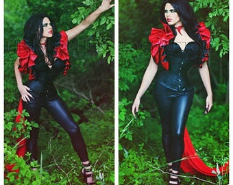 Dramatic Wedding Cosplay Costume Reversible Top Bolero shrug QUEEN OF HEARTS Goth bridesmaids Harley Quinn