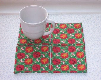 ginger bread man joy and candy canes hand quilted set of mug rugs coasters