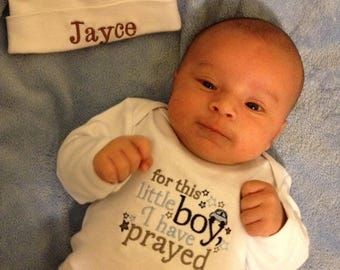 ON SALE Infant Layette For This Little Girl or Boy I have Prayed Comming Home Outfit baby Gift