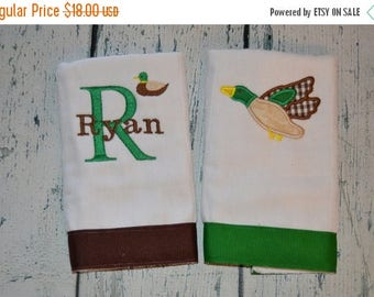 ON SALE Personalized Mallard Duck Burp Cloth Set of 2 Burpies