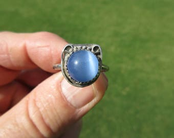 BRIGHT MOON BEAM - Sterling Silver Moonstone Ring - Size 9
