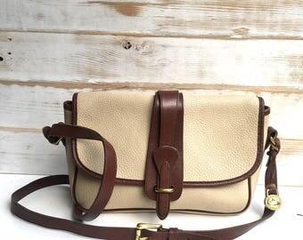 Authentic Dooney & Bourke Equestrian All Weather Leather Handbag Leather Satchel Vintage 1990 Bone and British Tan Equestrian Bag