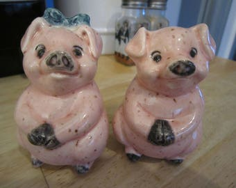 Anthropomorphic 60's Pink Pigs Salt and Pepper Shakers