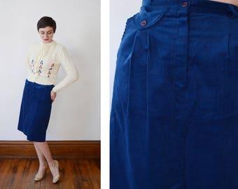 1970s Blue Corduroy Skirt - XS/S