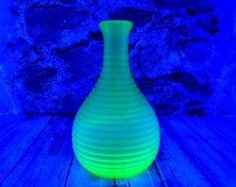 Vintage Frigidaire Green Vaseline Glass Vase or Carafe