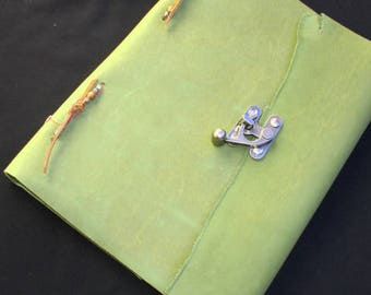 ON SALE! ~Green Heavy Leather Bound~Book of Shadows~Journal~RUSTIC~110 Pages