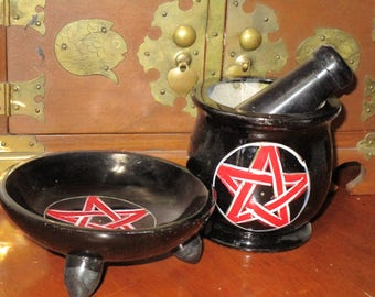 Black and Red Pentacle Mortar and Pestle~Apothecary Supply~Magick~Herbs~Spells~Plants~THREE free herb or Resin samples included