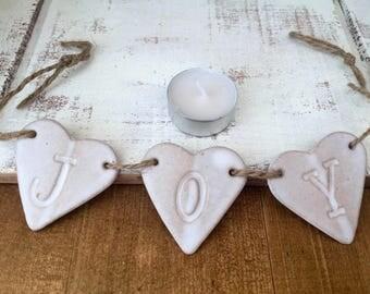 FREE SHIPPING- JOY ceramic bunting, ceramic heart hanger, home decor