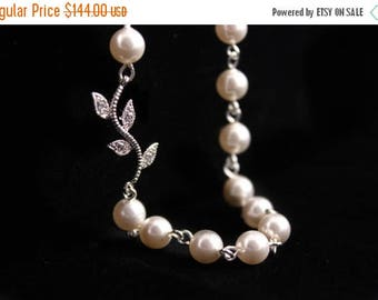 ON SALE Bridesmaid Jewelry Set of 6 Rhinestone Vine and Pearl Bridal Necklaces Alexis
