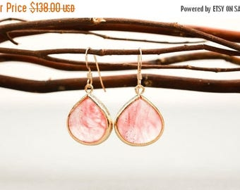 ON SALE Bridesmaid Jewelry Set of 6 Coral Pink Large Teardrop Earrings in Gold