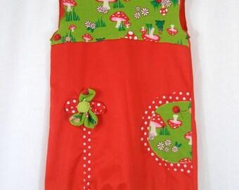 Iris red mushroom girl dress