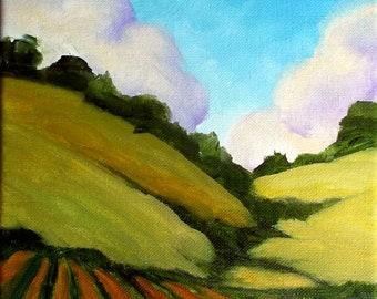 Farm Painting Impressionist Plein Air Landscape Hills & Farm California Art Lynne French o/c 8x10