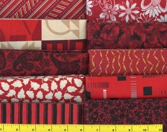 Dark Red Jelly Roll 40 - Strips Quilting Fabric #b25