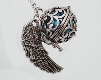 Angel caller angel wing locket with choice of coloured chime ball- harmony bell- pregnancy necklace- Mexican Bola necklace- Silver plate