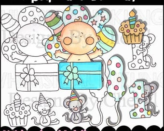 Pipsqueaks Birthday Clipart Collection- Immediate Download