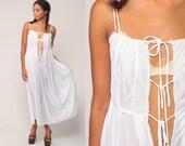 Long Nightgown Lingerie Slip Dress 70s Boho PLUNGE White Nylon Deep V Neck High Waist Maxi Vintage Bohemian Plunging Neckline Small Medium