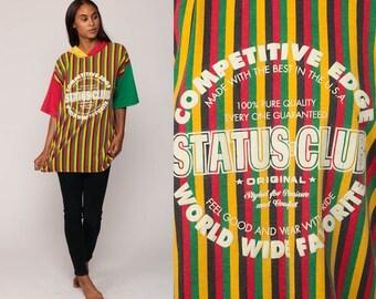 Hooded Shirt STATUS CLUB Rasta TShirt Striped T Shirt Hoodie 90s Streetwear Retro Tee Vintage Hood Short Sleeve Red Green Extra Large xxl