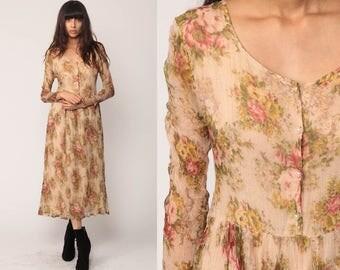 90s Midi Dress Floral Boho Grunge Print PEARL Button Up Long Sleeve Bohemian High Waist Nude Tan Vintage Retro Medium