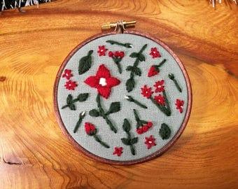 Handmade wool floral embroidery 4 inch hoop