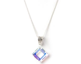Swarovski Elements Necklace, Square Frame Pendant, Sterling Silver bail and chain