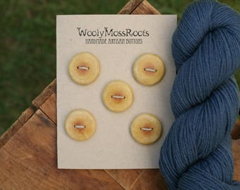 5 Yellow Wood Buttons-Oregon Cascara Wood- Wooden Buttons- Eco Craft Supplies, Eco Knitting Supplies, Eco Sewing Supplies