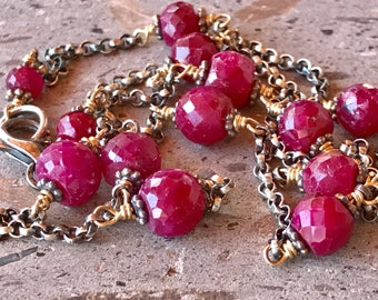 Ruby Necklace, Gold Filled and Oxidized Sterling Silver Chain, Leo Cancer July Birthstone Faceted Ruby Station Necklace Layering Necklace