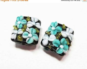 20% OFF LOOSE Beads - Lampwork Glass Art Beads - Black, White, Teal, and Pale Blue, and Olive Green Fancy Flower Squares (2 beads) - gla937