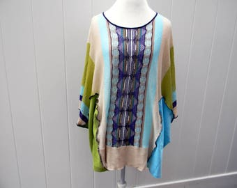 Upcycled Women Poncho Bohemian  Boho Tunic Cover Up Women Poncho Kaftan Shrug Recycled Sweater One Size Upcycled Women Clothing