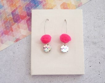 Neon Pink Drop Pom Pom Earrings with Colouful Bunting Triangles disc
