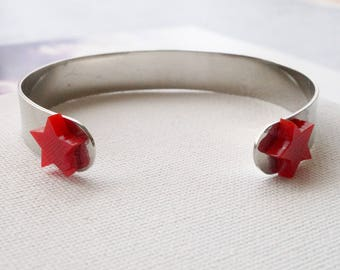 Silver Handcut Bracelet with Red Stars