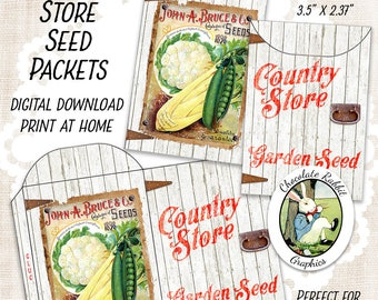 Country Store Seed Packet, Gift Card Envelope, Vintage Style Digital Download, Pocket Letters, Garden Gift Tags, Seed Envelope, Party Favors