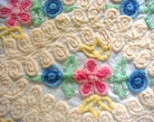 Lollipops and Daisies Floral Plush Vintage Cotton Chenille Fabric 20 x 24 Inches