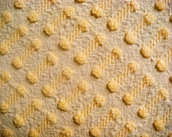 Morgan Jones Sunny Yellow Buttonhole Vintage Cotton Chenille Bedspread Fabric 17 x 18 inches