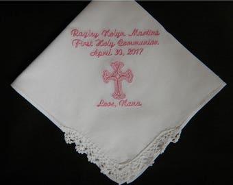 1 Baptism Handkerchief  - FREE SHIPPING - Machine embroidered custom handkerchief great for weddings, baptism or birthday