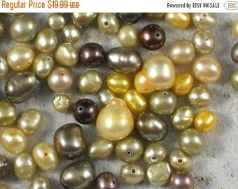ON SALE Pearl Mix  Brown Iris, Yellow & Champagne Colorwave - Over 255 beads (220)