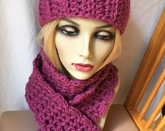 READY SHIP Set Crochet Womens Headband and Matching Scarf, Berry, Soft Chunky, Birthday Gifts for Her JE111HBSSet