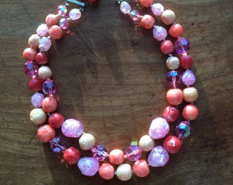 Vintage Summer Coral 2 Strand Glass Bead Necklace