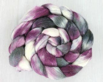 POLWARTH/SILK Handpainted Roving Combed Top :RAZZ