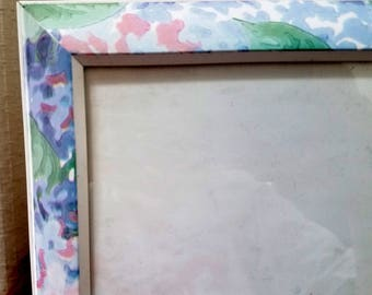Vintage Picture Frame Floral Flowers Pastel Pink Green Blue Lilac Plastic Shabby Chic 8 by 6