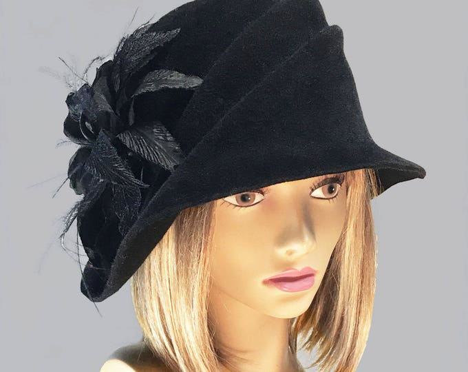 Featured listing image: Sophia, Velour Felt Cloche millinery hat with side draped pleats and beautiful silk flowers, color Black