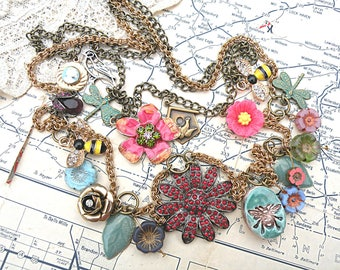 fairy garden charm necklace assemblage flower bee bird gardener recycled jewelry romantic cottage chic